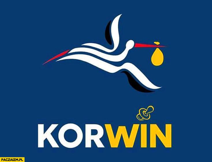 Korwin logo bocian dziecko