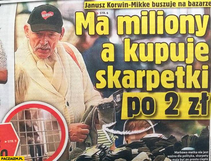 Korwin ma miliony a kupuje skarpetki po 2 zł