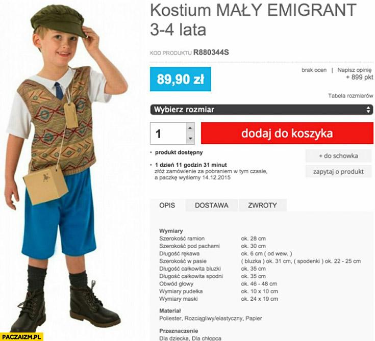 Kostium mały emigrant dla dziecka