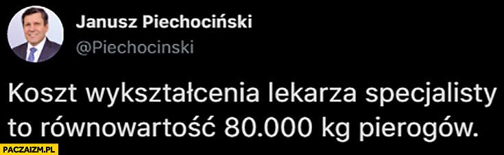 Koszt wykształcenia lekarza specjalisty to równowartość 80 tysięcy pierogów Piechociński Twitter