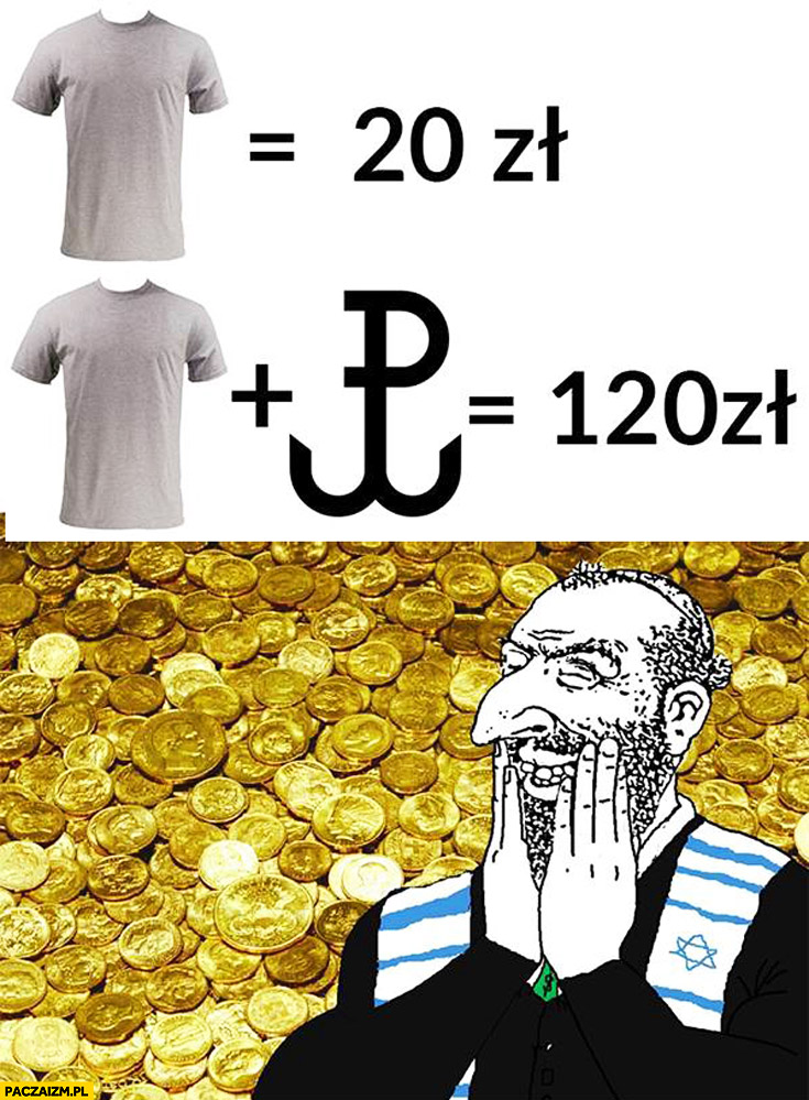 Koszulka 20zł z logiem znakiem Polski Walczącej 120zł mem Żyd