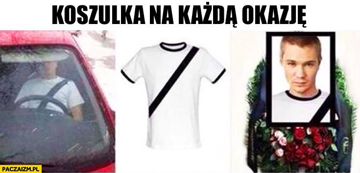 Koszulka z nadrukiem pasów bezpieczeństwa na każdą okazję: do auta, na pogrzeb