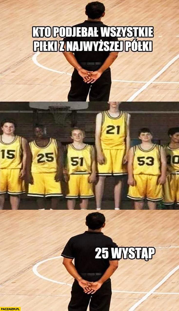 Koszykarze kto ukradł wszystkie piłki z najwyższej półki numer 25 wystąp czarny chłopak