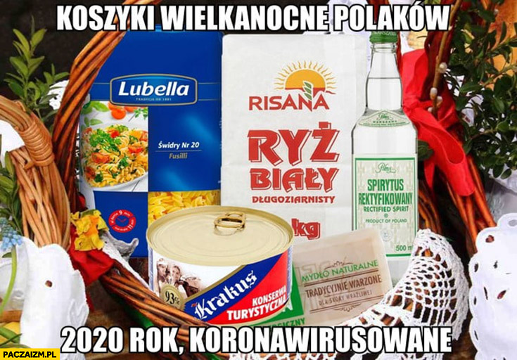 Koszyki wielkanocne Polaków 2020 rok koronawirusowane: ryż, makaron, konserwa, spirytus, mydło