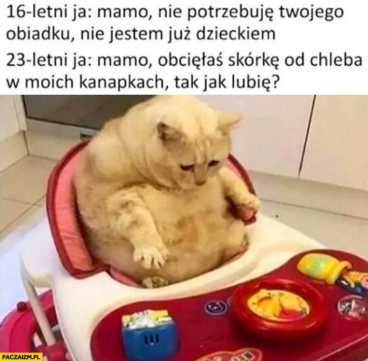 Kot 16 letni ja: mamo nie potrzebuję Twojego obiadku nie jestem już dzieckiem, 23 letni ja: mamo obcięłaś skórkę od chleba w moich kanapkach tak jak lubię?