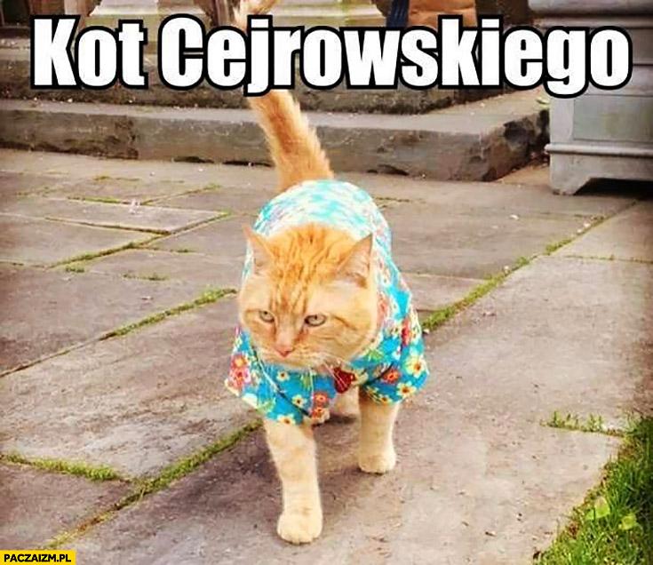 Kot Cejrowskiego w koszuli hawajskiej w kwiaty