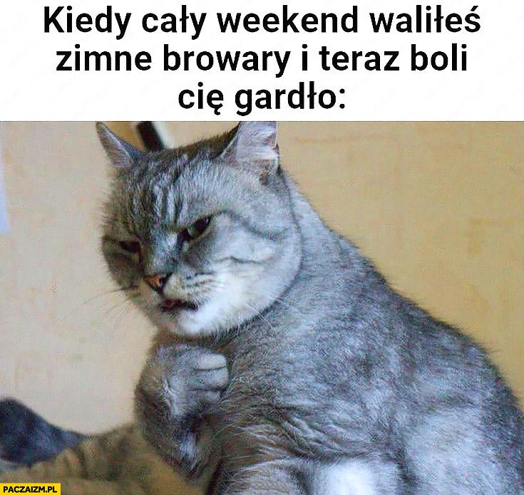 Kot kiedy cały weekend waliłeś zimne browary i teraz boli Cię gardło