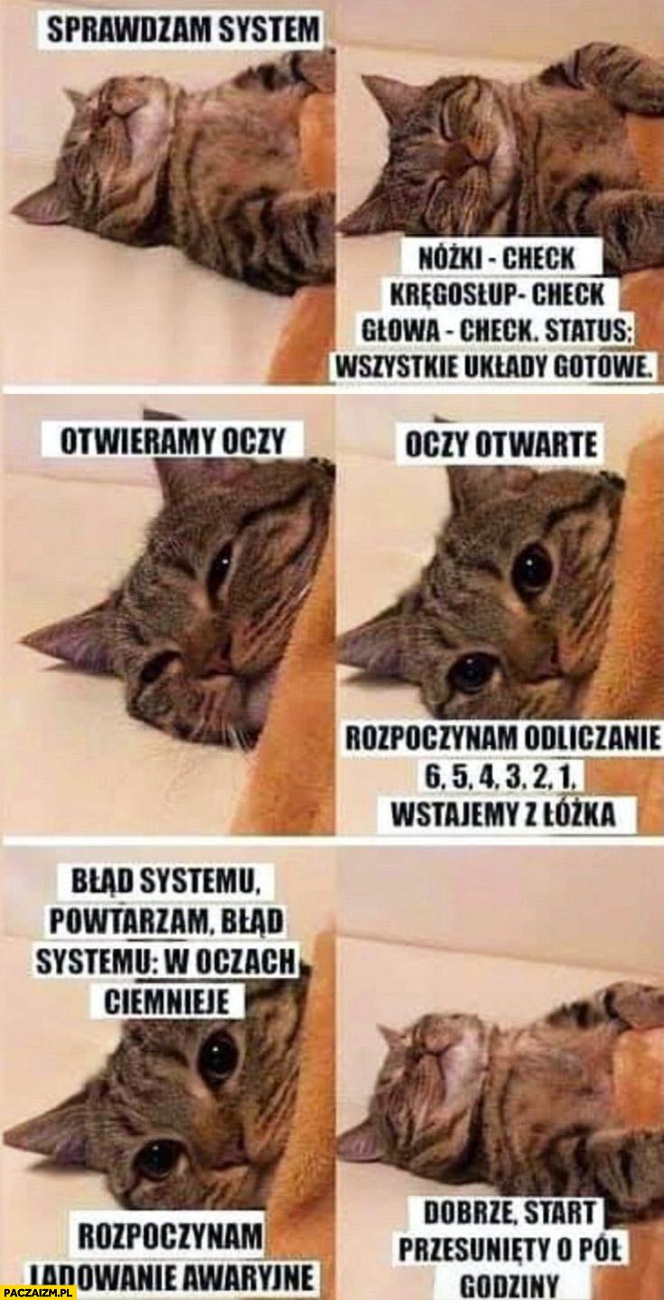 Kot kotek wstaje rano: sprawdzam system, otwieramy oczy, wstajemy z łóżeczka, start przesunięty o pół godziny