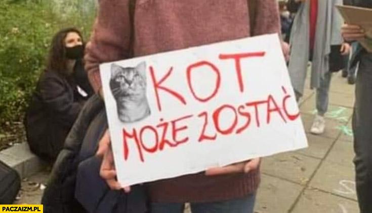 Kot może zostać napis transparent na proteście aborcyjnym