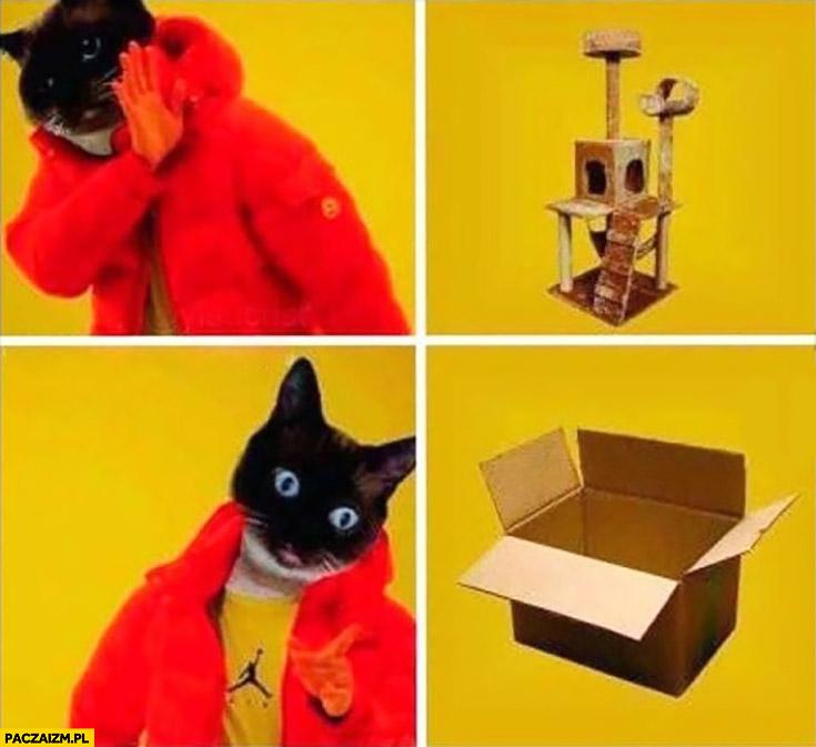Kot nie chce domku zabawki dla kotów woli pudełko Drake