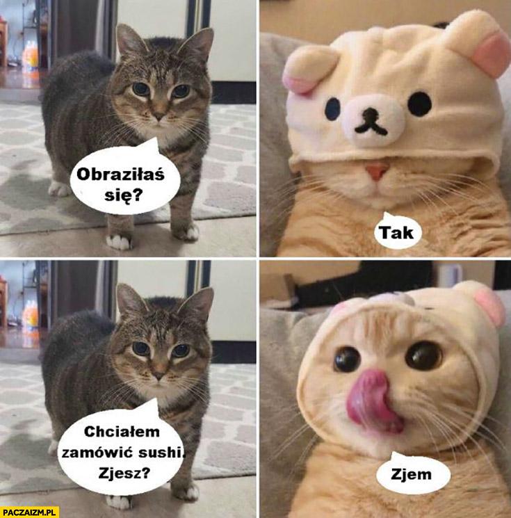 Kot obraziłaś się? Tak chciałem zamówić sushi, zjesz? Zjem