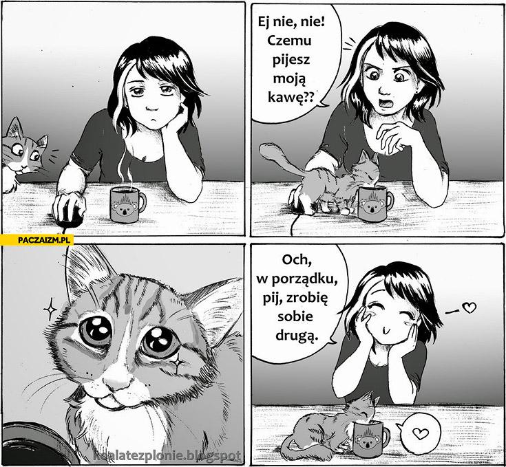 Kot pije kawę  zrobię sobie drugą
