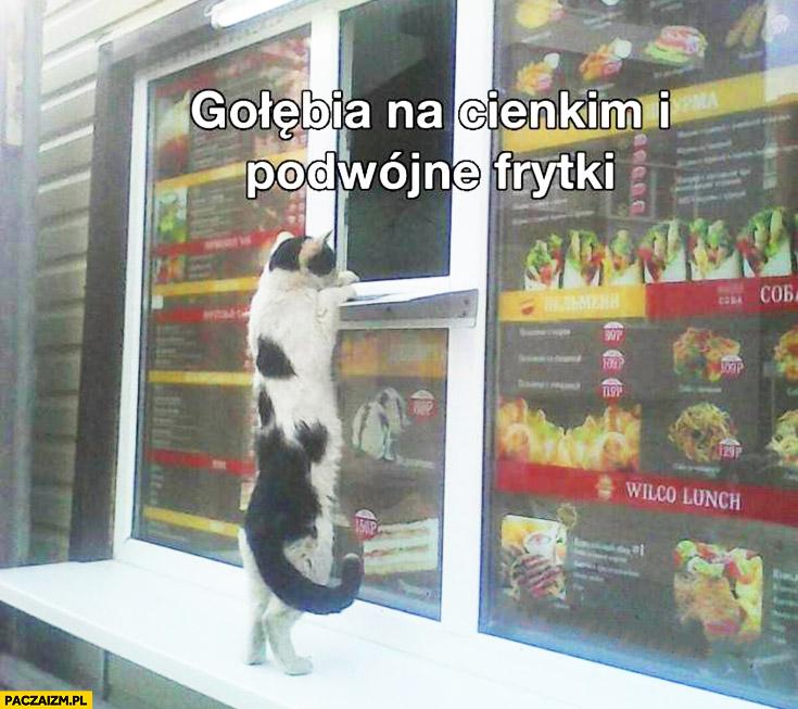 Kot zamawia jedzenie kebab gołębia na cienkim i podwójne frytki