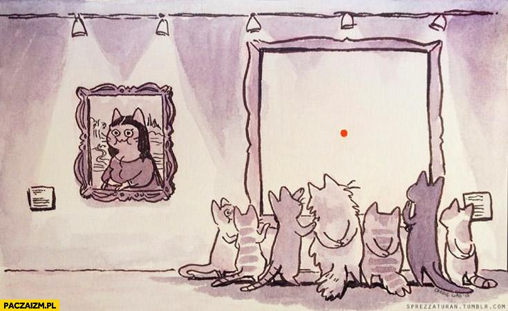 Koty obraz czerwona kropka