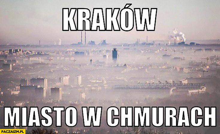 Kraków miasto w chmurach smog