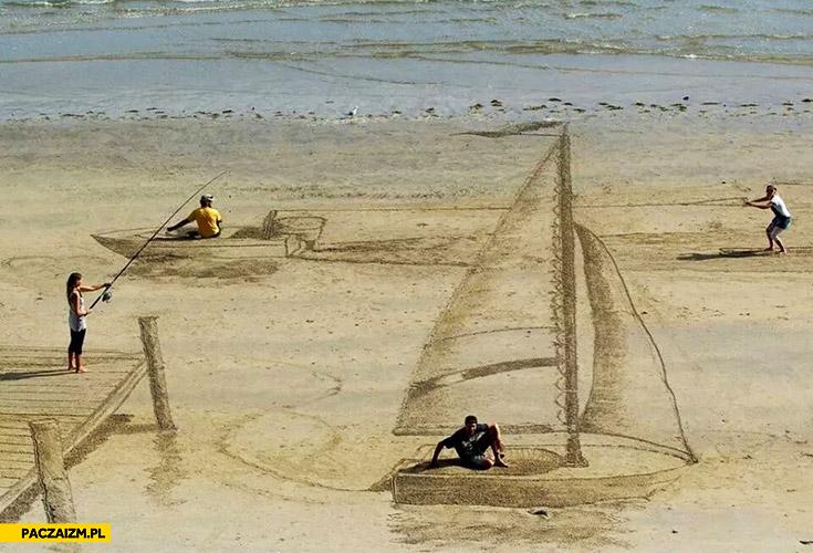 Kreatywne rysowanie na piasku