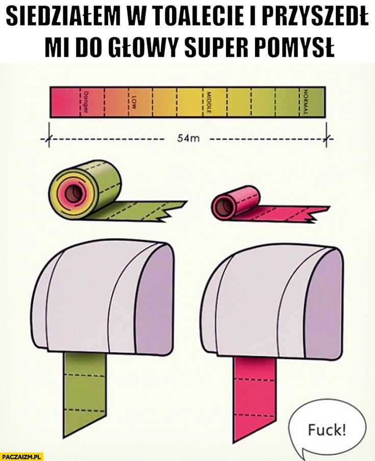 Kreatywny papier toaletowy zielony czerwony pokazuje ile jeszcze zostało