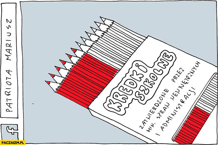 Kredki szkolne zatwierdzone przez Ministerstwo Spraw Wewnętrznych biało-czerwone patriotyczne