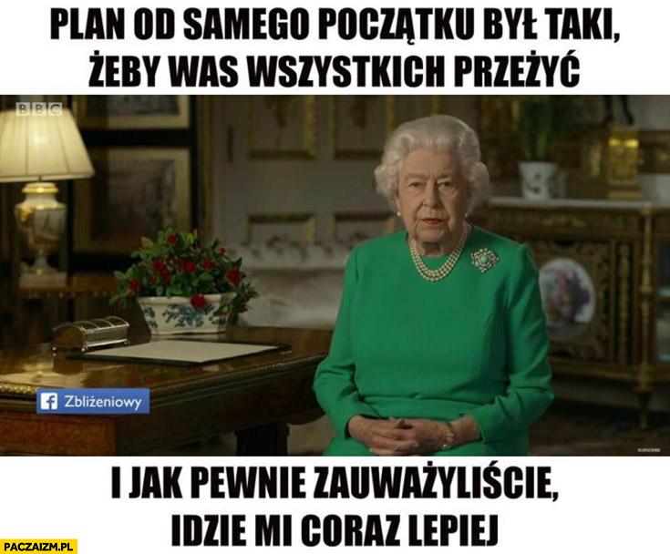 Królowa Elżbieta plan od samego początku był taki żeby was wszystkich przeżyć i jak pewnie zauważyliście idzie mi coraz lepiej