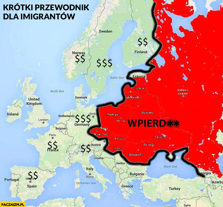 Krótki przewodnik dla imigrantów mapa Europy: kasa, wpierdziel