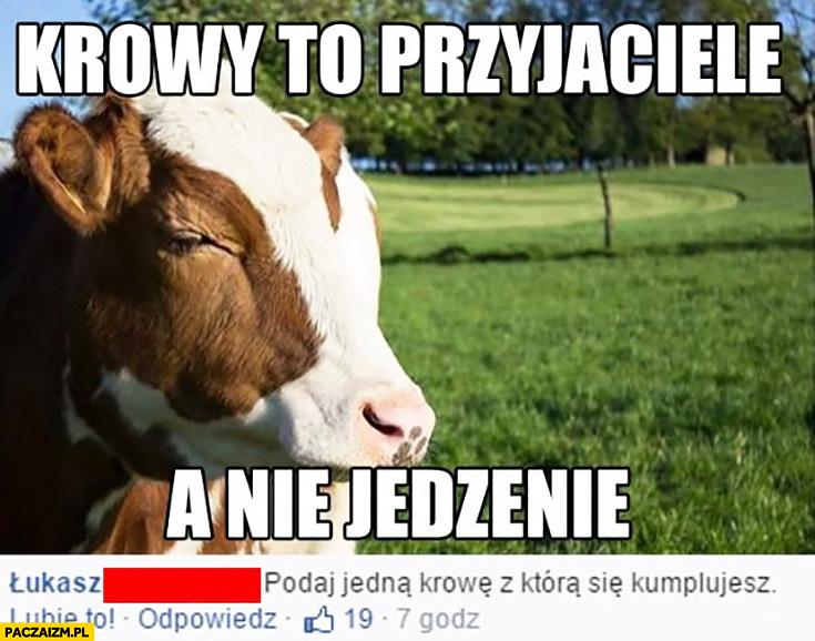 Krowy to przyjaciele, a nie jedzenie. Podaj jedna krowę, z którą się kumplujesz
