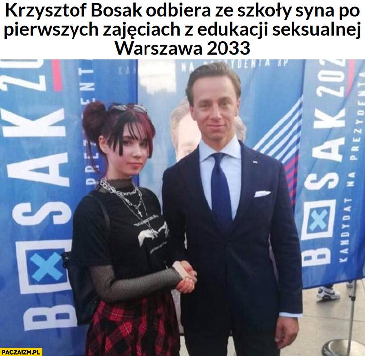 Krzysztof Bosak odbiera ze szkoły syna po pierwszych zajęciach z edukacji seksualnej, Warszawa 2033