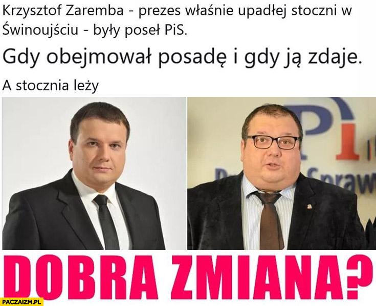 Krzysztof Zaremba prezes upadłej stoczni w Świnoujściu dobra zmiana