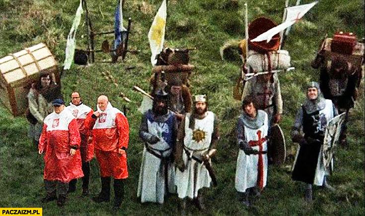 Krzyżacy Kaczyński płaszcz kurtka peleryna przeciwdeszczowa flaga polski przeróbka