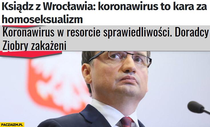 Ksiądz z Wrocławia: koronawirus to kara za homoseksualizm, koronawirus w resorcie sprawiedliwości doradcy Ziobry zakażeni
