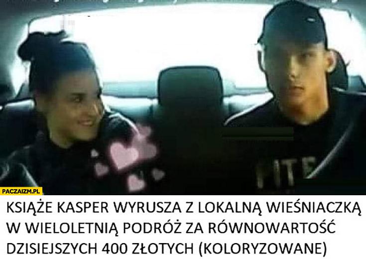 Książę Kasper wyrusza z lokalna wieśniaczką w wieloletnią podróż za równowartość dzisiejszych 400 złotych (koloryzowane) napad na taksówkarza