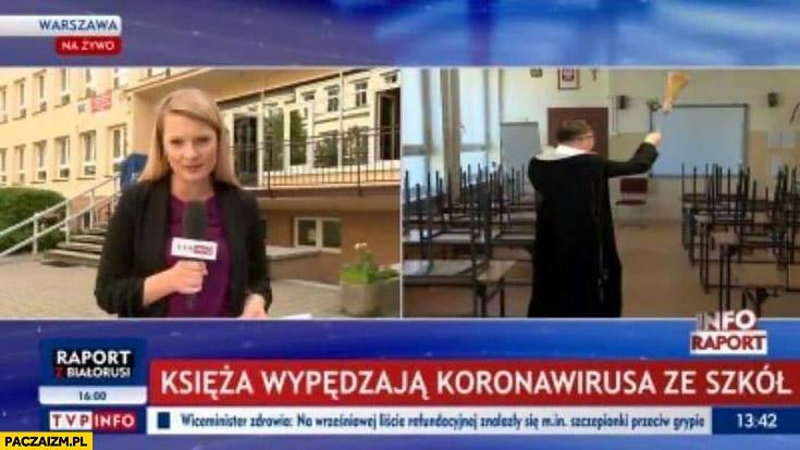 Księża wypędzają koronawirusa ze szkół pasek TVP Info