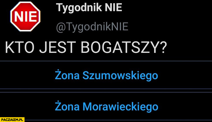 Kto jest bogatszy żona Szumowskiego czy żona Morawieckiego tygodnik nie sonda ankieta