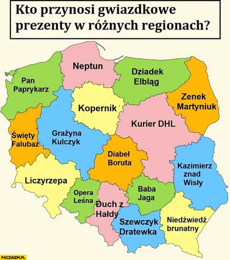 Kto przynosi prezenty gwiazdkowe w różnych regionach Polski mapa mapka Neptun, Boruta, Falubaz, kurier DHL