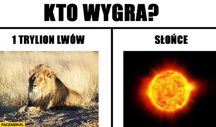 Kto wygra: 1 trylion lwów czy jedno słonce?