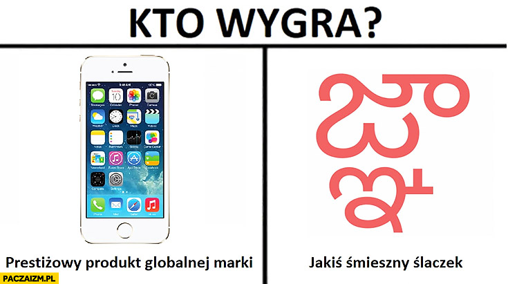 Kto wygra iPhone Ajfon prestiżowy produkt globalnej marki czy jakiś śmieszny szlaczek symbol błąd