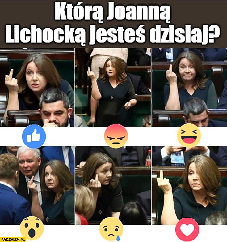 Którą Joanną Lichocką jesteś dzisiaj? Środkowy palec emotki facebooka