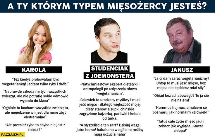 Którym typem mięsożercy jesteś laska studenciak z joemonstera Janusz