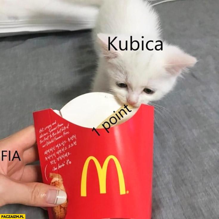 Kubica zdobył 1 punkt w Formule 1 kotek bierze frytkę McDonald's