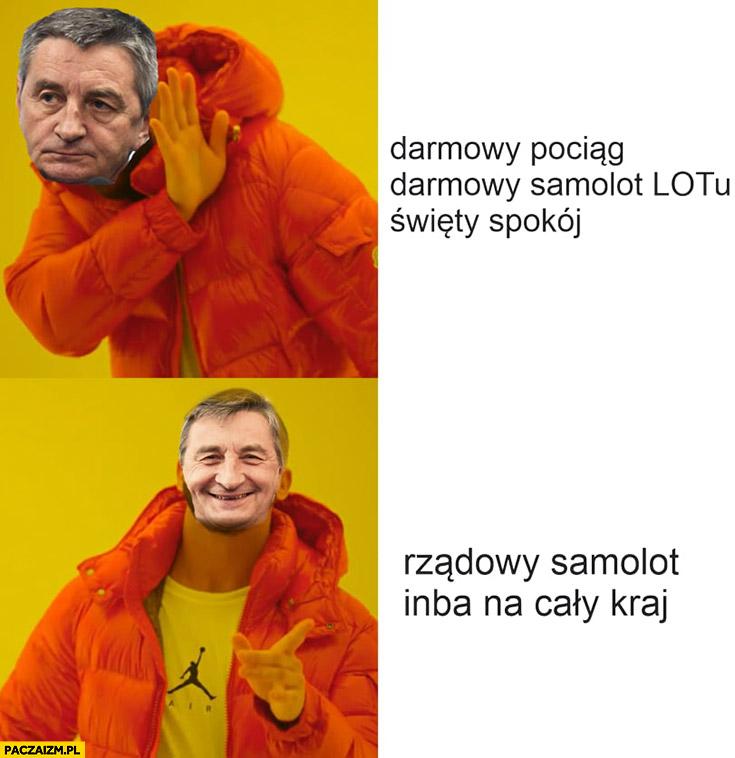 Kuchciński darmowy pociąg, samolot LOT i święty spokój woli rządowy samolot inba na cały kraj drake