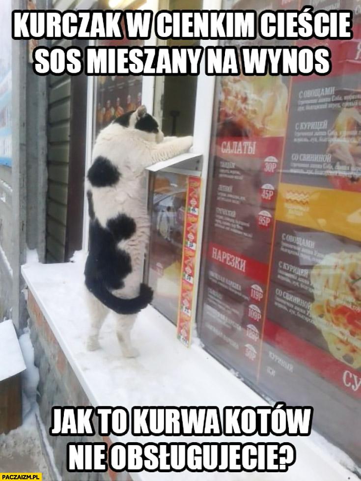 Kurczak w cienkim cieście, sos mieszany na wynos. Jak to kurna kotów nie obsługujecie? Kot zamawia kebab