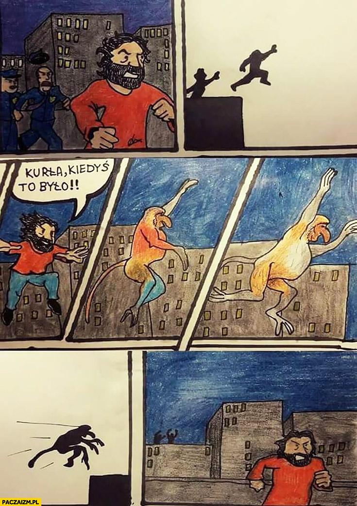 Kurna kiedyś to było typowy Polak nosacz małpa skacze między blokami transformacja komiks