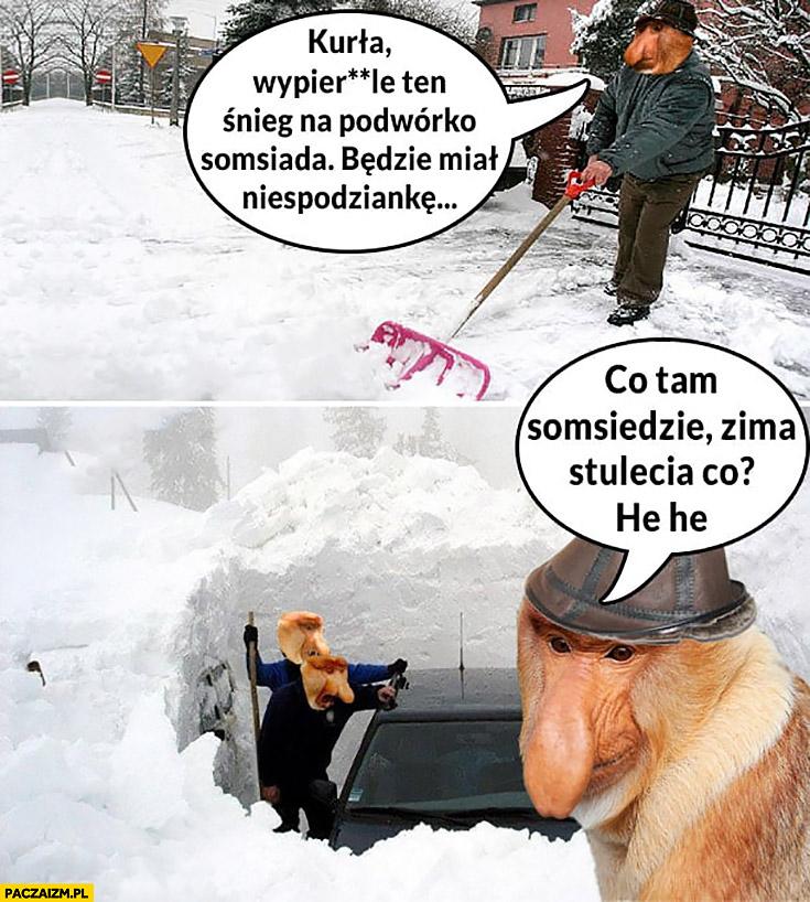 Kurna wypierdzielam śnieg na podwórko sąsiada będzie miał niespodziankę co tam sąsiedzie zima stulecia typowy Polak nosacz małpa