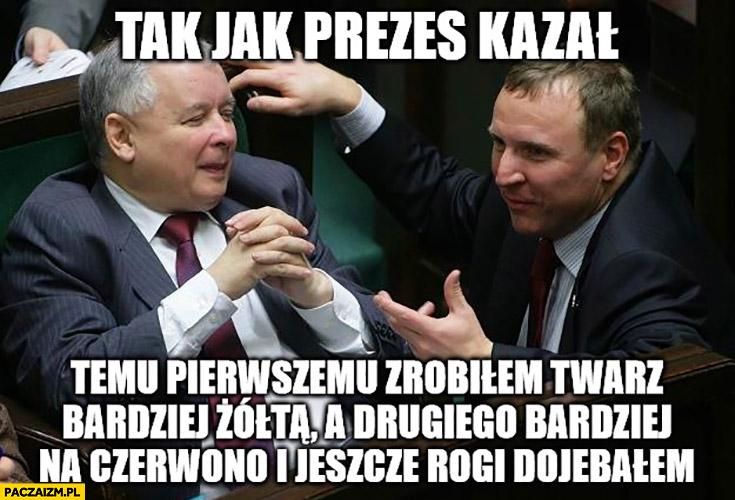 Kurski Kaczyński tak jak pan prezes kazał papieżowi zrobiłem twarz bardziej żółtą Tuskowi na czerwono i jeszcze rogi dowaliłem