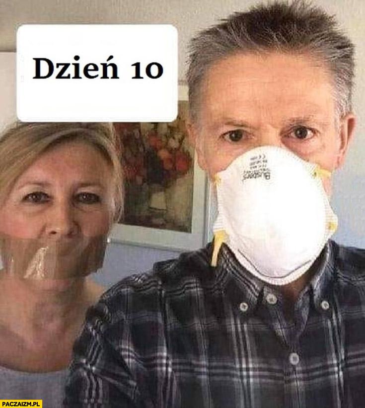 Kwarantanna dzień 10: żona z ustami zaklejonymi taśmą