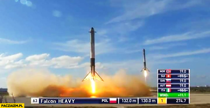 Lądowanie rakiet boosterow SpaceX Falcon heavy telemark oceny skoki narciarskie