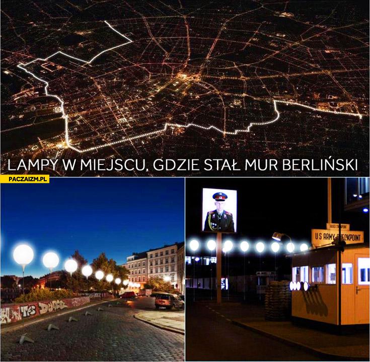 Lampy w miejscu muru berlińskiego