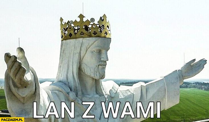 Lan z wami pomnik Jezusa z Świebodzinie z nadajnikami internetu