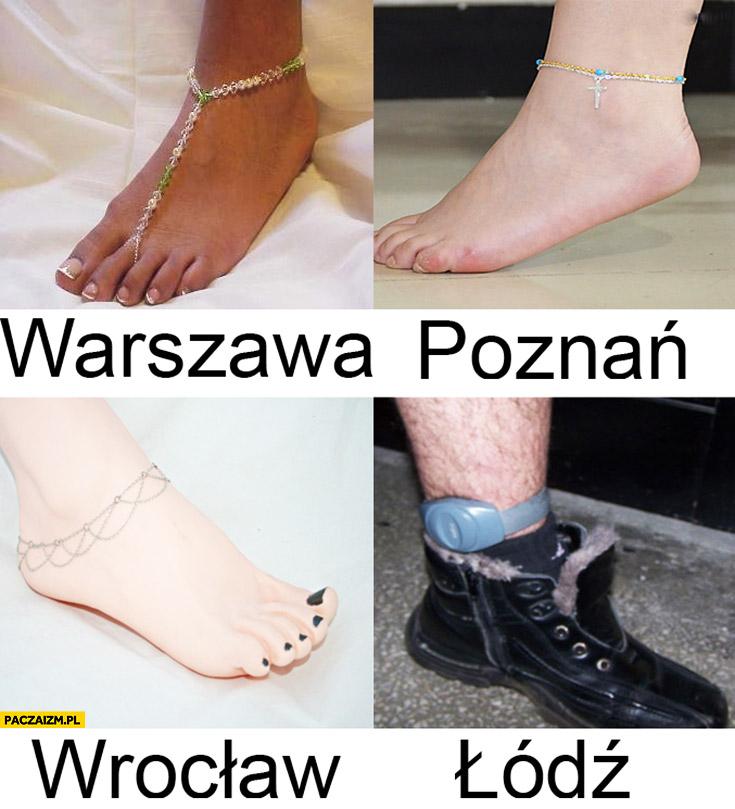 Łańcuszek na nodze kostce Warszawa Poznań Wrocław Łódź opaska obrączka elektroniczna dozór