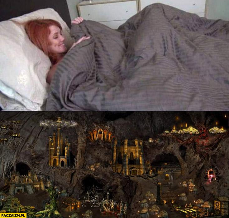 Laska zagląda pod kołdrę tam zamek z Heroes 3