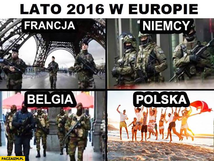 Lato 2016 w Europie Francja Niemcy Belgia Polska porównanie